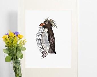 Penguin art. Beautiful print of a Rockhopper Penguin.Nursery print, kids room decor, animal print, penguin art, black and white print, mono