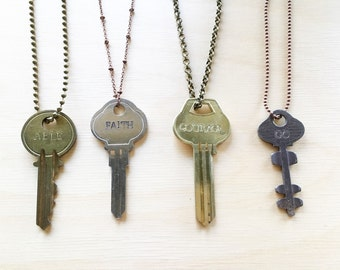 Key Necklace, Hand stamped Key, Repurposed Key, Engraved Key, Hand Stamped Key Necklace, Personalized key jewelry, Custom Hand Stamped
