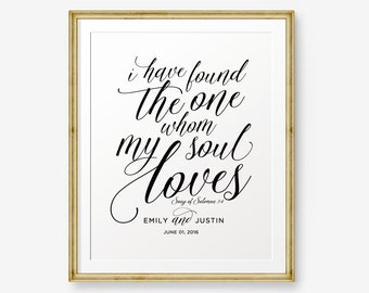 SALE Personalized Wedding Gift, I have found the one whom my soul loves, Song of Solomon 3:4, Engagement Gift Printable,Bride and Groom Gift
