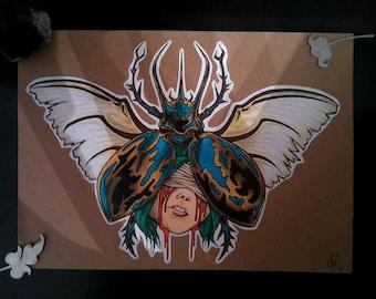 Bleeding woman cicada drawing