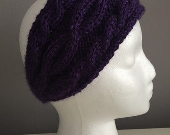 Deep Purple Cable Knit Headband