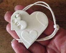Heart decoration with personalised tag ~ perfect for decorating gifts ~ Mother's Day ~ wedding gift ~ clay gift tag ~ Valentines