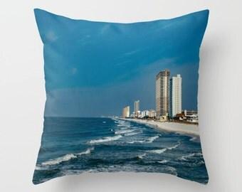 Indoor / Outdoor Decorative Throw Pillow Beach 16X16 IN.