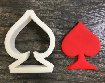Spade Suit Cookie Cutter, Mini, Standard and Large Sizes, 3D Printed