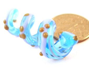 loversofbeads SRA artist Lampwork blue and gold Snake Glass Dread Bead - S606