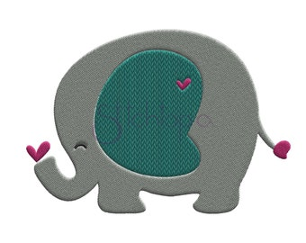 Machine Embroidery Design Baby Elephant Gray And White
