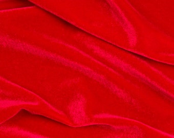 "Stretch Velvet Spandex  Fabric - Red - 58""/60"" Width Sold By The Yard"