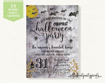 Halloween party invitation card printable- 5x7 inches