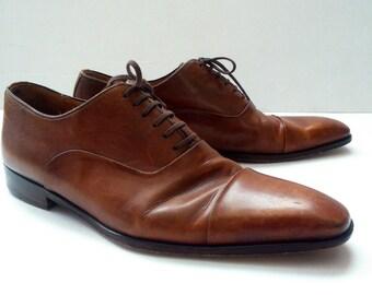 Oxfords Mens Shoes Cognac Brown Shoes Leather Shoes Brown Vintage Leather Lace Up Leather Sole Shoes Size Us men 9 , Eur 43, UK 8