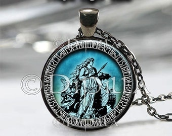 Freya Norse Goddess Pendant in 4 Design choices with Leather Cord