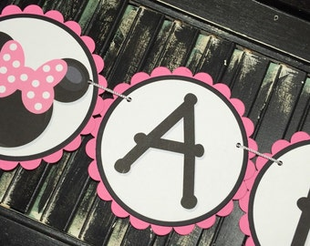 Minnie Mouse Personalized Banner-Name Bunting-Birthday Banner-School Party-Photo Prop-Customize-Baby Shower-Minnie Banner-Minnie Birthday