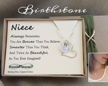 Niece Gift - 18th birthday - Sweet 16 Gift - Sterling Silver Birthstone Necklace for Niece Jewelry 10th birthday gift for niece necklace