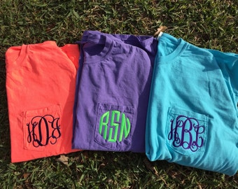 Long sleeve monogrammed pocket tee, Monogrammed Pocket tee, long sleeve tee with monogram