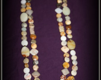 Multi-stoned double strand necklace