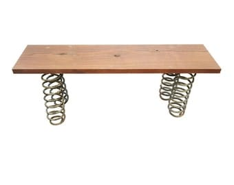 Reclaimed Walnut Bench made from upcycled springs -Reclaimed Wood Bench Upcycled Bench Walnut Outdoor bench indoor bench 4' reclaimed bench