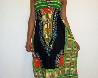 Black/Green Sun Dress