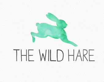 Watercolor Hare Logo Design , Watercolour Hare , Watercolor Rabbit , Watercolour Rabbit , Green and Grey , Woodland Logo , Animal Logo