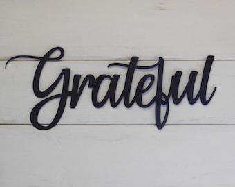 Grateful Sign, Rustic Word Art Sign, Housewarming Gift Idea
