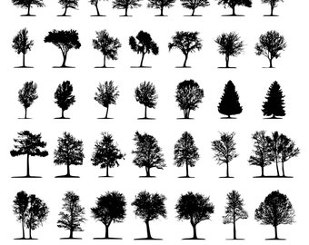 Tree Clipart, Tree Silhouettes Clipart, Nature Silhouettes Clipart, Forest Clip Art, Digital Tree, Instant Download