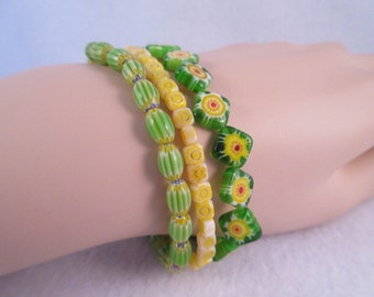 3 Green Millefiori Stretch Bracelets
