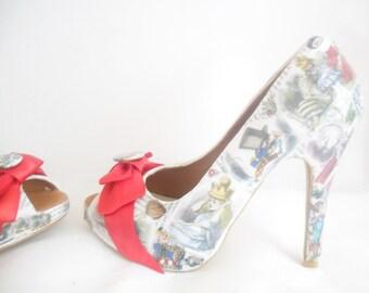 John Tenniel's Classic 1865 Alice In Wonderland Decoupage Custom Peep Toe Women Glitter Handmade Shoe High Heel Size 3 4 5 6 7 8 Platform