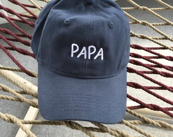 Papa Cap - Navy Blue With White Letters