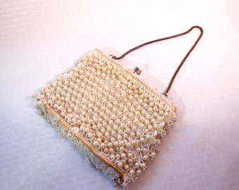 SALE ** 20% OFF ** Beautiful Vintage DELILL  Evening Bag Heavily Beaded with Ivory  Pearls made in Hong Kong in the 1950's.
