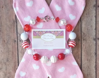 Valentine's Day Leg Wamers & Chunky Necklace - For Her - Pink - Hearts