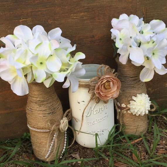 Rustic Wedding Centerpieces Mason Jars: Rustic Wedding Centerpieces Twine Wrapped Bottles Mason Jar