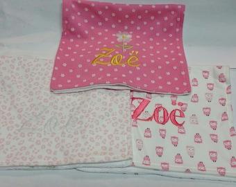 Custom Embroidered Burp Cloths, set of 3