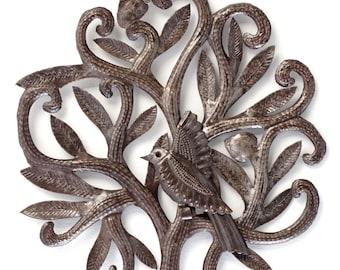 "Nesting Bird Garden Haiti Metal Art 14"" x 14"""