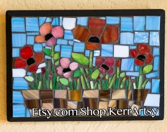 Poppy Stained Glass Mosaic Wall Art