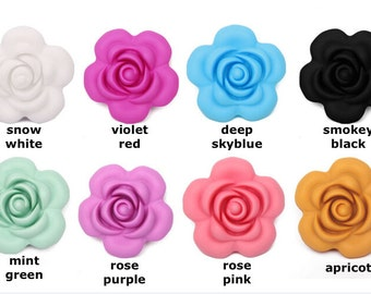Flower Silicone Beads Large (40mm) Food Grade BPA free FDA approved Loose Silicone Beads for Teething Necklace Chew Jewelry Teether DIY
