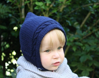 Hand Knitted Pure Merino Wool Baby, Toddler & Kids Elf Pixie Hat in Navy Blue - More Colors