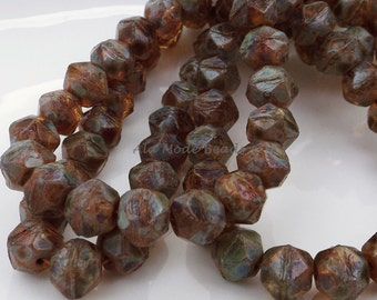 8MM Amber Turquoise Picasso Czech English Cuts (20)