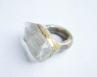 Raw crystal ring, raw quartz ring