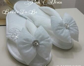 Brides Wedding Slippers, Honeymoon slippers - Velour flip flop slippers, Bridal shower