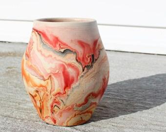Nemadji Pottery Vase, Vintage Clay Vase, Southwestern Style- Red Orange- Ohio - Rustic Home Decor, Orange Brown