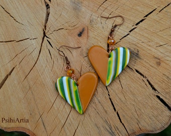 Polymer clay earrings Heart shaped earrings Heart shaped jewelry Polymer clay jewelry Polymer clay heart Colorful earrings One of a kind