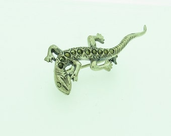 Silver Marquasite Lizard Brooch (SKU374)