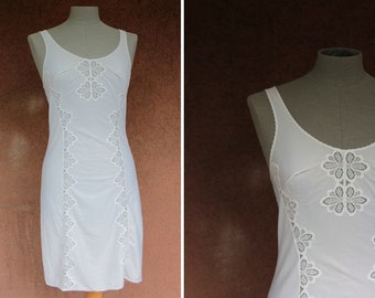 1960's NightGown Slips - Cutout scalloped Nightgown - Size XS