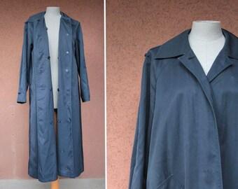 1960's Blue Bogner Trench Coat - 60's Bogner Rain Coat - Size L
