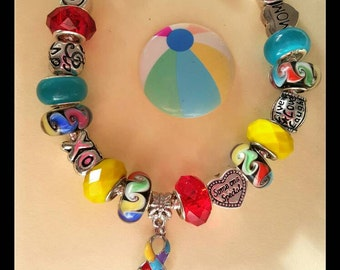 "MOM'S ""Autism Awareness"" Ladies Jewelry, European Style Charm Bracelet Red Yellow, Blue Autism Awareness Ribbon, Murano Glass Lampwork Beads"