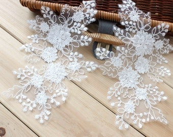 Of White Lace Appliques Venice Lace Flower Collars Corsage Costome Decor Lace Patches 1 Pair YL417
