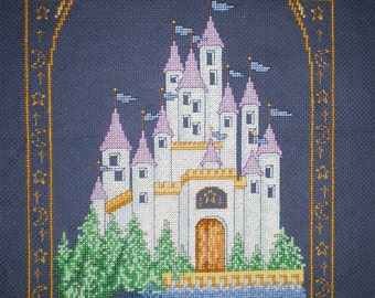 Unframed Fantasy Castle Completed Cross Stitch With Suns, Stars, And Crescent Moons *UK FREE POSTAGE*