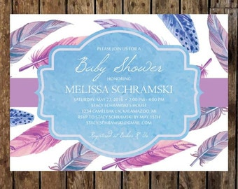 Printable 4.6 x 6.25 Tribal, Whimsical Feather Baby Shower Invitation. Pink, Purple & Blue Watercolor Feathers. Boho Chic Dreamcatcher.
