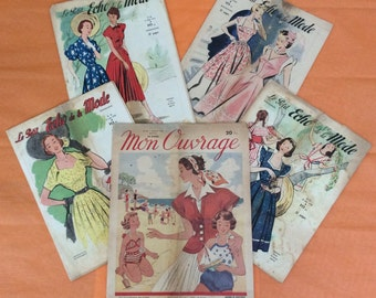 French vintage fashion magazines from 1950's - set of 5