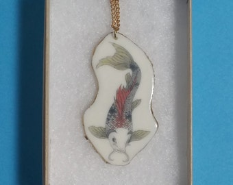 Koi Carp Necklace with gold detail. Unique handcrafted jewellery. Jewelry. Illustration. porcelain. Wearable art.