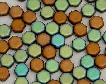 Honeycomb Bead, Glittery Matte Bronze, 2 Hole Glass Beads, (HC-00030-98856), 6mm, 30 count