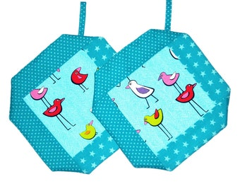 Oven mitts birds, turquoise